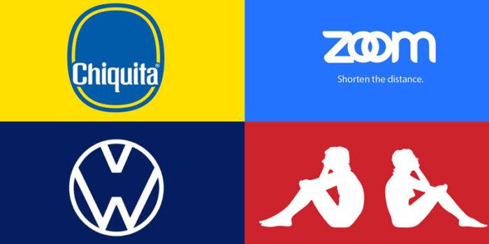 Merken met logo redesign om het belang van 'social distancing' te benadrukken